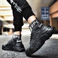 冬季高帮运动鞋子男弹力黑色袜子鞋韩版百搭增高嘻哈潮流