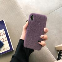 简约纯色毛绒iPhone6s/7plus手机壳苹果XSmax防摔保护套女款XR/8p 苹果6/6s 雾紫色海马毛