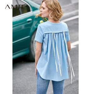 【到手价73.9元】Amii极简洋气时尚心机T恤女2019夏季新圆领短袖撞料拼接绑带上衣