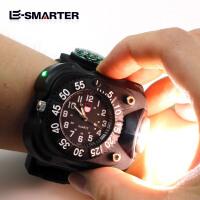 手表强光手电筒可充电超亮夜跑骑行灯户外运动石英表手腕灯