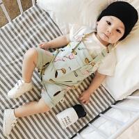 婴儿套装夏季 韩版新生儿纯棉短袖勺子背带裤两件套宝宝衣服