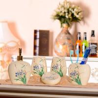欧式洗漱套件 结婚礼物浴室用品 漱口杯陶瓷卫浴五件套装