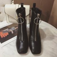 靴子女白色短靴女春秋2018新款英伦前拉链马丁靴高跟鞋女冬季粗跟