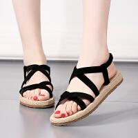 夏季新款时尚平底凉鞋女款韩版甜美罗马鞋镂空露趾渔夫鞋女潮