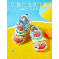 婴儿软底鞋夏季男女童弹力鞋宝宝凉鞋毛毛虫童鞋学步网面鞋