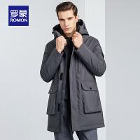 罗蒙羽绒服男冬季休闲保暖中长款纯色上衣中青年时尚修身连帽外套