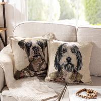 奇居良品 美式棉纱沙发卧室床头靠垫抱枕方枕套 绅士狗靠垫套