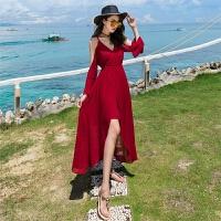2018海边度假显瘦性感沙滩裙吊带雪纺长裙开叉露肩连衣裙 酒红色