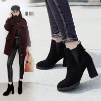 ZHR短靴女欧美风切尔西靴粗跟加绒高跟复古女靴2018冬季新款