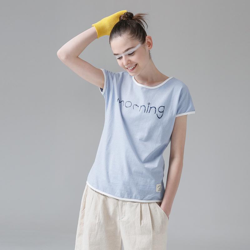 初语夏蝙蝠袖条纹T恤女短袖简约宽松纯棉圆领文艺打底外穿上衣