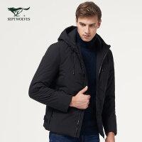七匹狼棉服 冬季保暖棉衣 时尚休闲男士短款连帽男装外套