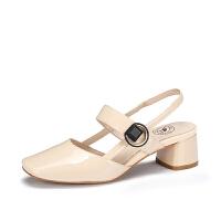 camel 骆驼女鞋 夏季新款时尚优雅真皮包头方跟套脚港味复古凉鞋女