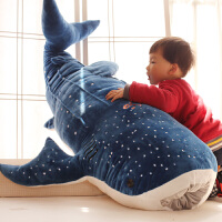 卡通毛绒玩具 鲸鱼大布娃娃靠垫 大号鲨鱼蓝鲸抱枕公仔 鲸鲨
