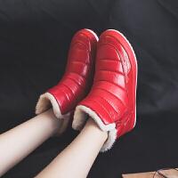 2018冬季新款防水雪地靴女韩版百搭短筒短靴加厚保暖学生棉鞋