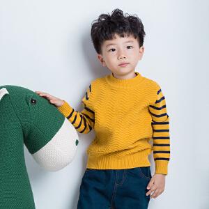 童装撞色条纹针织衫半高领打底衫中小童波浪纹理套头毛衣