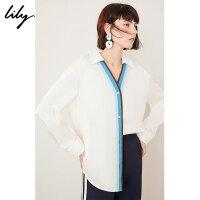 【不打烊价:206元】 Lily春新款女装气质撞色条纹宽松休闲通勤衬衫119130C4216