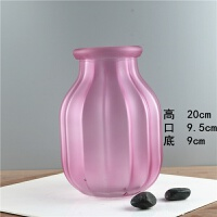 花瓶摆件北欧简约小清新家居玻璃透明花瓶客厅满天星干花花瓶 涟漪款(冰粉色)