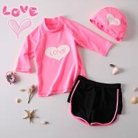 女童游泳衣中小童女泳装儿童粉色泳衣中长袖速干分体短裤