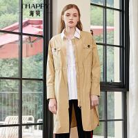 海贝2018秋季新款女装 圆领长袖抽绳收腰拉链中长款纯色风衣外套