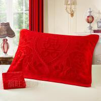结婚庆纱布大红色枕巾纯棉枕用毛巾婚礼红双喜枕头毛巾一对装