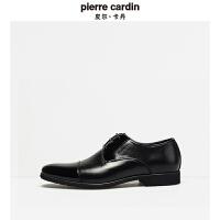 皮尔卡丹秋季新款三接头男鞋商务正装拼接系带英伦男士真皮鞋
