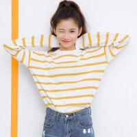 套头宽松毛衣针织衫女装早秋季2018新款韩版港味复古条纹上衣长袖 均码