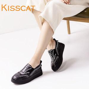 接吻猫潮鞋厚底单鞋布洛克花纹小牛皮舒适乐福女一脚套DA76781-53