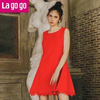【每满200减100】Lagogo新款红色连衣裙女短裙2017秋冬装打底裙蕾丝边无袖背心裙