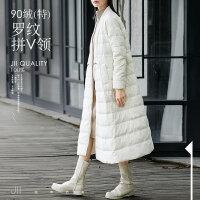 [AMII东方极简] JII[东方极简] 2017新款白鸭绒长款白色羽绒服过膝女90绒