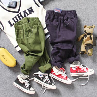 儿童休闲裤藏蓝军绿2色秋款男童宝宝多口袋松紧腰工装长裤子 发货周期:一般在付款后2-90天左右发货,具体发货时间请以与客服协商的时间为准