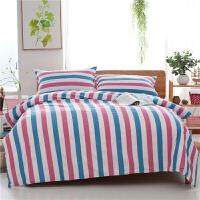 老粗布床上用品四件套加厚学生被罩单人双人床单被套三1.8m2.0m床 乳白色 红蓝白条