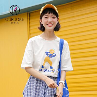欧若珂  2018夏新款百搭休闲宽松显瘦学生小清新印花短袖T恤女