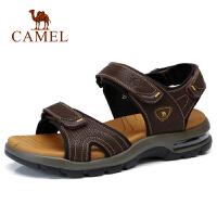 camel 骆驼夏季新款牛皮凉鞋休闲轻便沙滩鞋魔术贴凉鞋男鞋