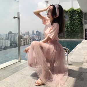 谜秀网红套装女2018夏装新款韩版修身亮丝中长款T恤网纱裙两件套