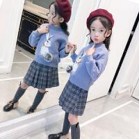女童加绒卫衣中大童冬装2018新款中高领洋气韩版儿童加厚保暖上衣 杏 色