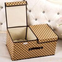 分类装宝宝衣服收纳箱格子储存箱子放婴儿童衣物整理盒子布艺家用 长50*宽30*高25 cm