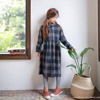 复古淑女女童秋连衣裙中大童裙时尚潮流童裙格子长款裙