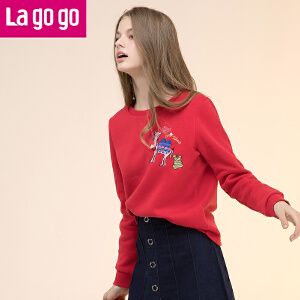 Lagogo/拉谷谷2017年冬季新款时尚圆领刺绣长袖卫衣