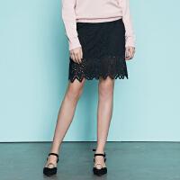 【2件2.5折叠券约:35.2,12日0点】美特斯邦威半身裙女新款韩版时尚修身蕾丝短裙