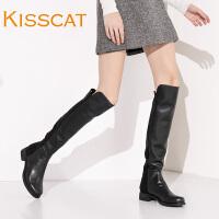 接吻猫简约牛皮保暖加绒过膝粗中跟长靴女DA76680-51