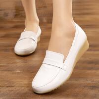 护士鞋白色 坡跟软底真皮防滑透气防臭女夏季2018新款秋冬单鞋SN8170 白色 38 女款