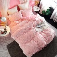 兔兔绒保暖四件套加厚双面绒公主风床上珊瑚绒被套床裙