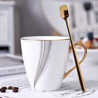 北欧式个性咖啡杯碟家用办公简约骨瓷花茶红茶水杯英式下午茶茶具 一杯一勺 马克杯