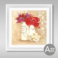 中式装饰画花卉瓶现代简约客厅餐厅卧室有框挂壁画卫生间浴室防水 外框尺寸60x60cm 时尚白色画框 铝板画+挂钩