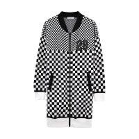 美特斯邦威毛针织衫女士冬装新款女士基本舒适黑白格子毛织棉服Q