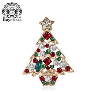 皇家莎莎胸针 女款韩版时尚唯美圣诞树胸针胸花女 浪漫圣诞夜