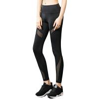 瑜伽裤 秋冬新款蕾丝镂空跑步健身裤女弹力紧身速干九分运动长裤 黑色 S