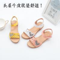 舞玛童鞋女儿童凉鞋2018新款夏季韩版时尚公主鞋软底真皮平跟凉鞋