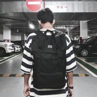 香港潮牌时尚潮流双肩包男背包旅游韩版学生书包女日系电脑旅行包 黑色