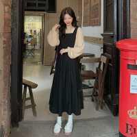 裙子秋�b2020年新款��松法式�凸�o袖�B衣裙女�@瘦背�чL裙�杉�套